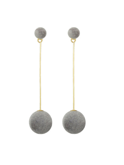 Gray Artificial Mink Fur Ball Earrings