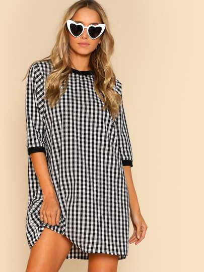 Ribbed Trim Gingham Dress