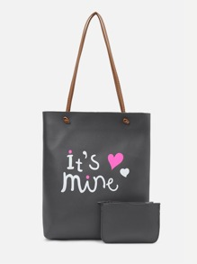 Heart Print Tote Bag With Wallet