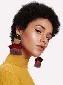 Flake Top Fringe Tassel Drop Earrings 1pair