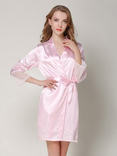 Lace Cuff Self Tie Satin Robe