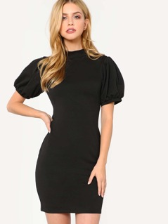 Puff Sleeve Button Keyhole Back Dress