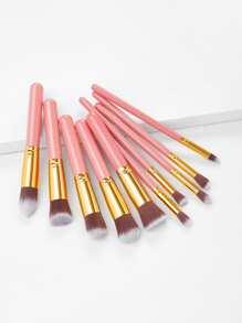 10PCS Pink Professional Makeup Brush Set