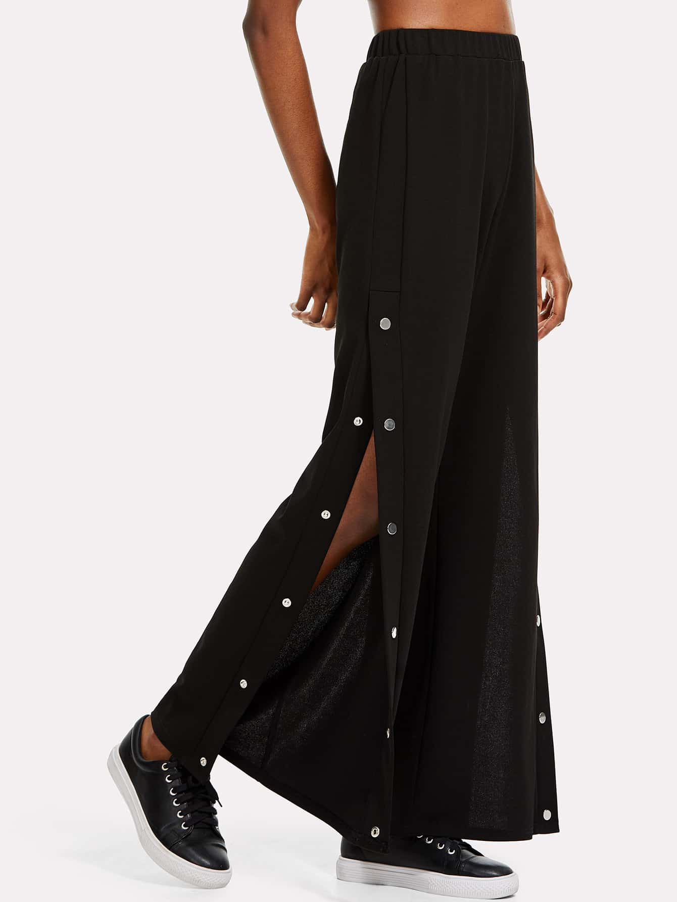 Snap Button Side Wide Leg Pants bow tie side wide leg pants