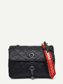 Slogan Ribbon Quilted Shoulder Bag