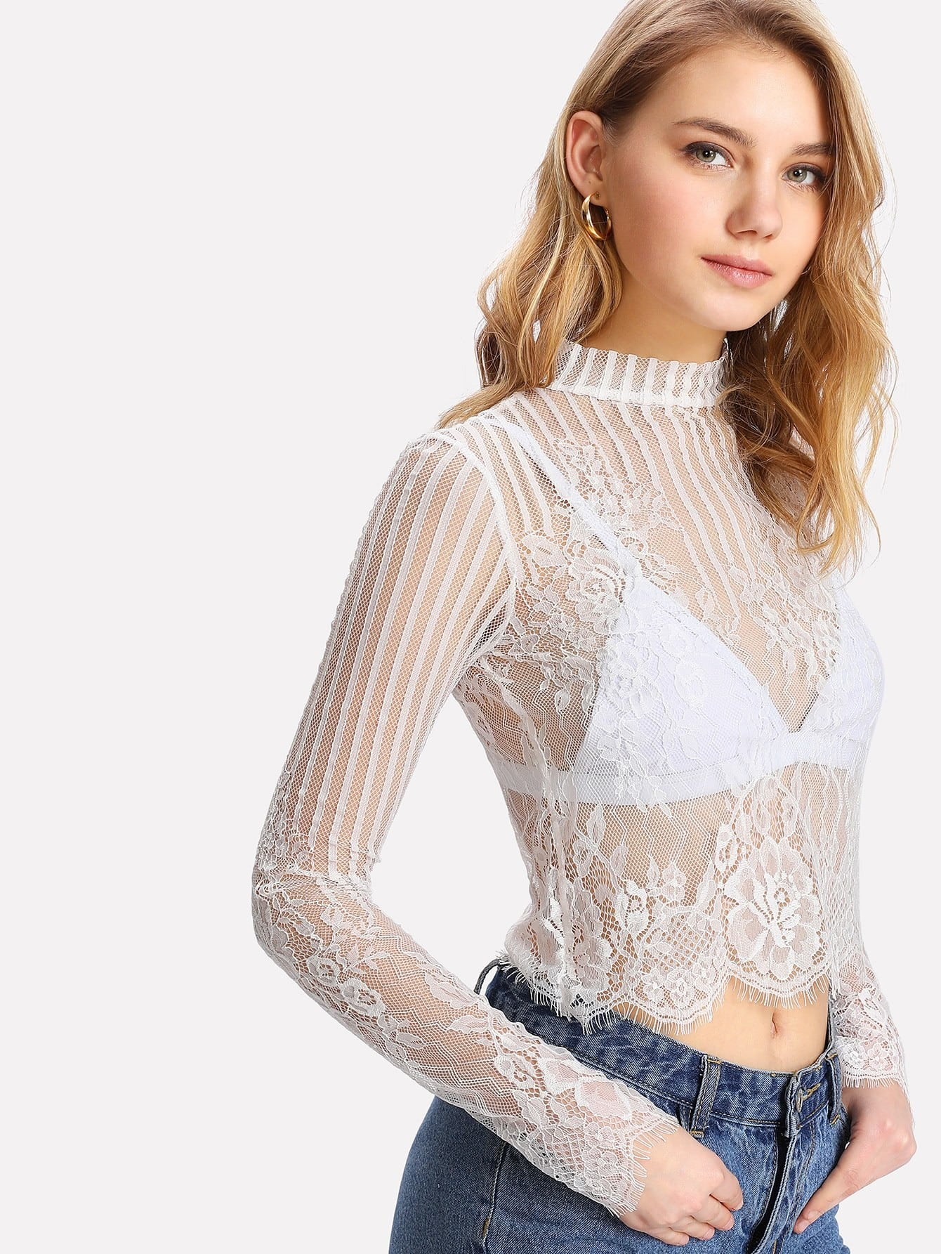 Button Keyhole Back Eyelash Lace Crop Top button through crop top