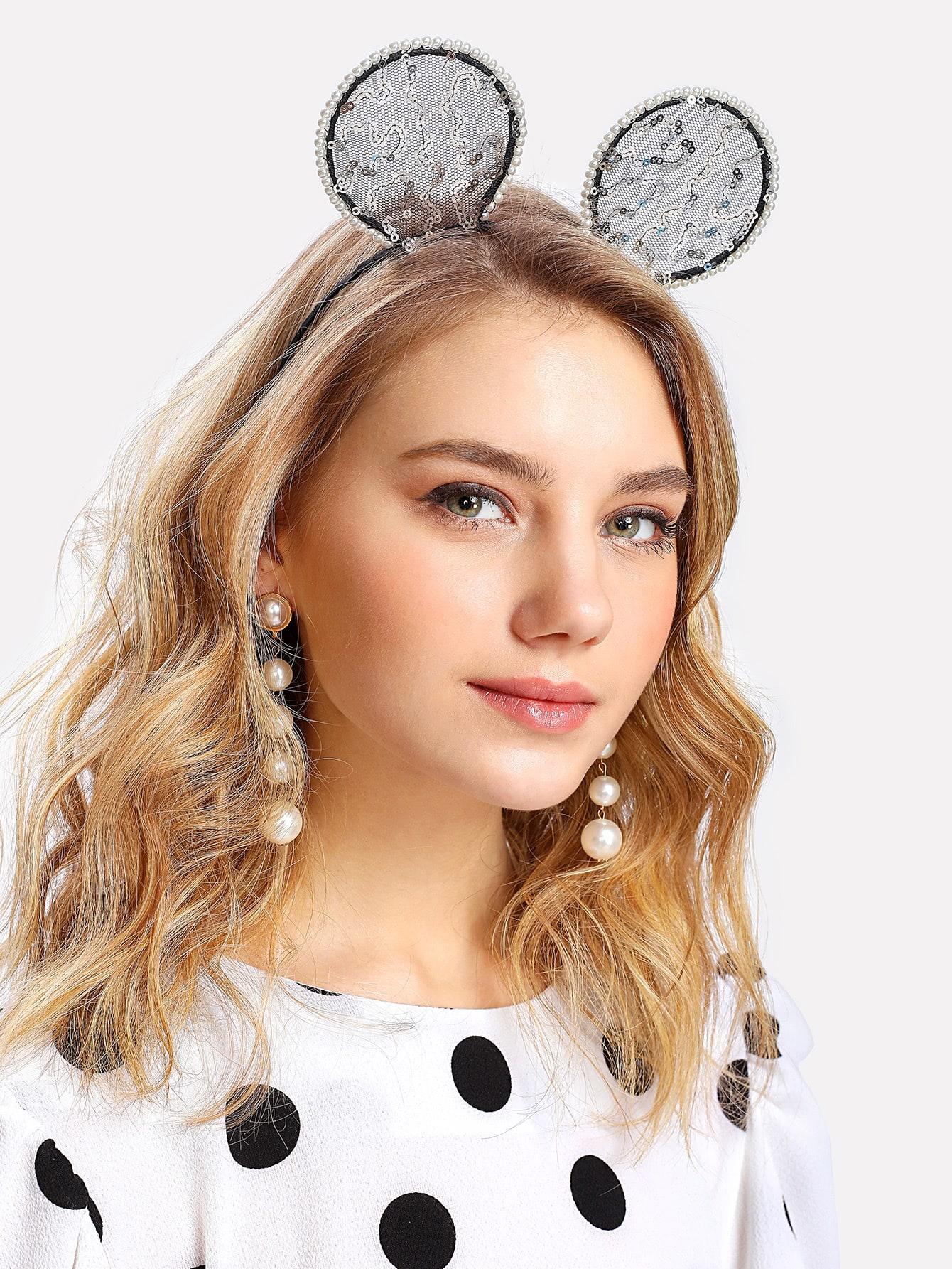 Купить Модный обруч для волос с блестками и бусинами, null, SheIn