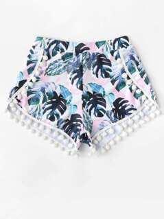Pom Pom Trim Tropical Swim Cover Up Shorts