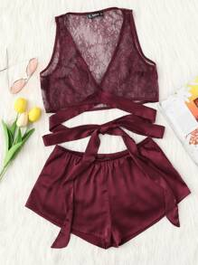 Cross Wrap Lace Top & Satin Shorts PJ Set