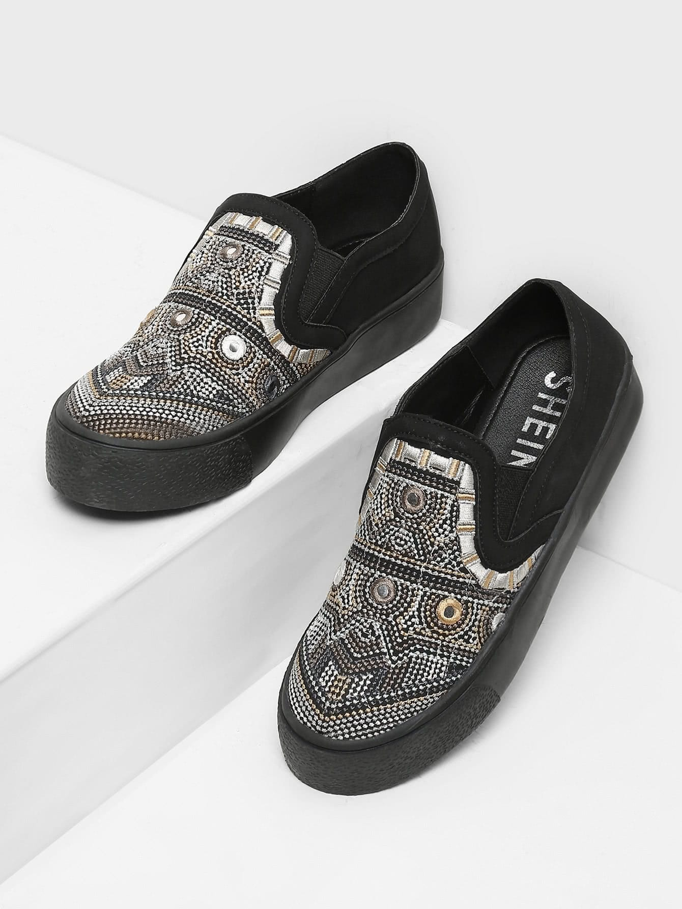Geometric Pattern Low Top Sneakers