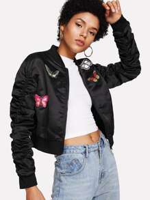 Butterfly Embroidered Applique Shirred Sleeve Crop Jacket
