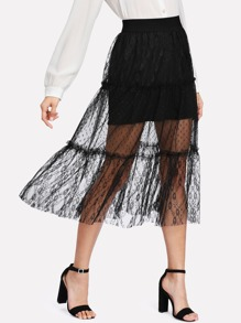 Frill Trim Sheer Mesh Skirt