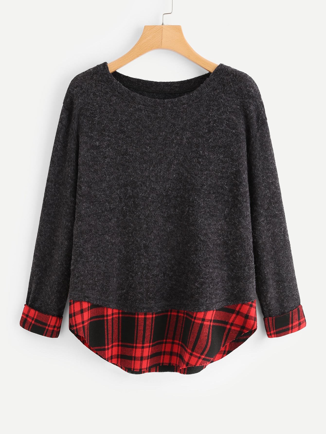 цена на Contrast Tartan Plaid Marled Knit Sweater