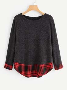 Contrast Tartan Plaid Marled Knit Sweater