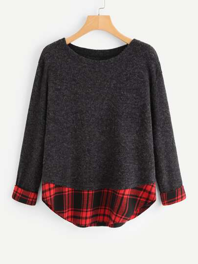 Contrast Tartan Plaid Marled Knit Sweater