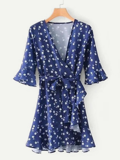 Self Tie Calico Print Wrap Dress