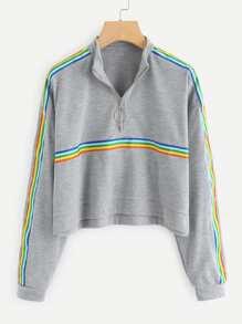 Rainbow Stripe Panel Zip Neck Marled Pullover