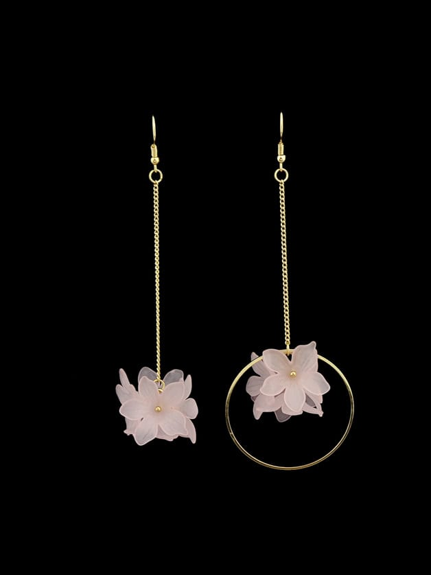 Acrylic Flower Shape Long Dangle Earrings