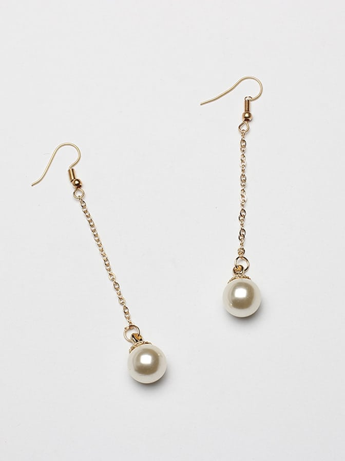 Faux Pearl Design Drop Earrings faux pearl rhinestoned oval drop earrings