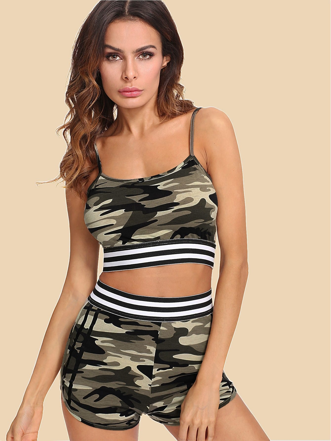 Striped Tape Detail Camouflage Cami & Shorts Set striped woven tape detail two tone sweatshirt