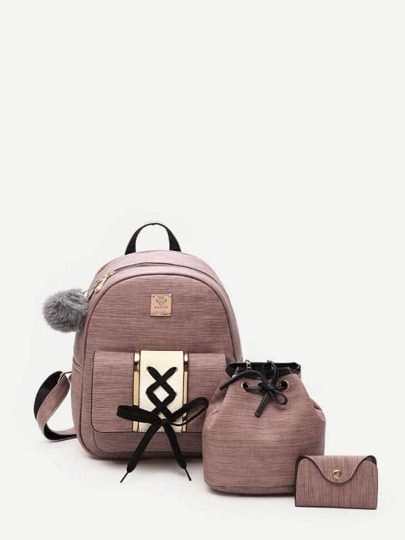 Lace Up Design Combination Bag 3pcs With Pom Pom