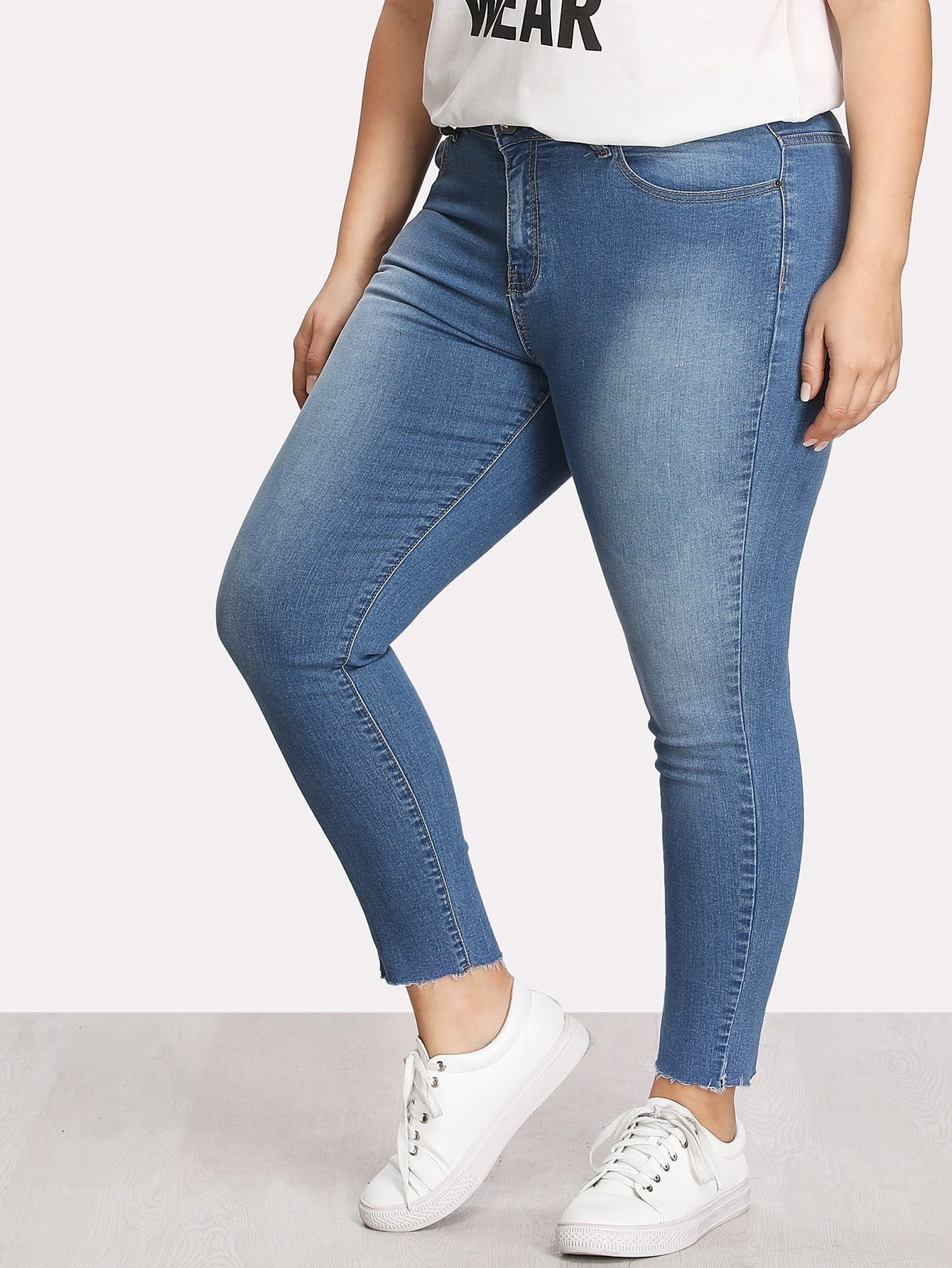 Plus Faded Wash Skinny Jeans цена 2017