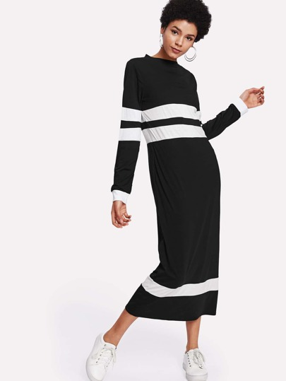 Contrast Panel Sweatshirt Dress