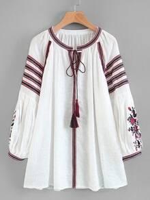 Tassel Tie Embroidered Longline Blouse
