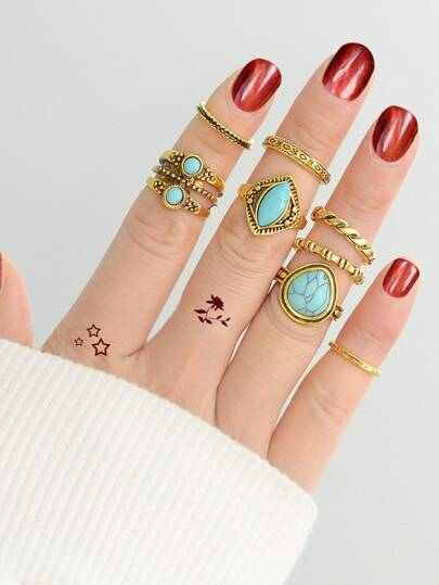 Turquoise Ring Set  8-Pieces Set