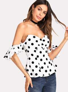 Layered Ruffle Sleeve Sweetheart Bardot Top