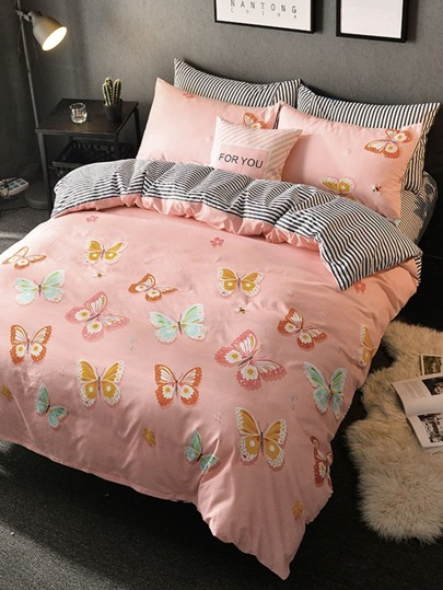 1.8m 4Pcs Butterfly Print Duvet Cover Set