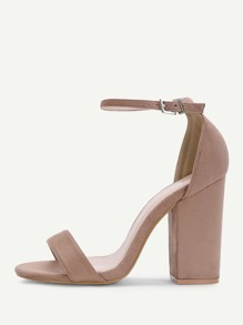 Peep Toe Ankle Strap Heeled Sandals