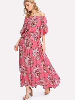 Flower Print Drawstring Waist Bardot Dress