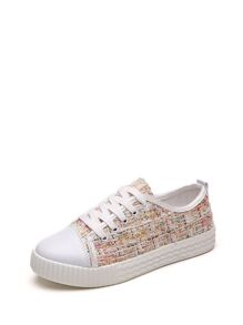 Lace Up Tweed Sneakers