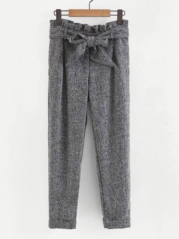 Frill Waist Self Tie Pants striped ruffled waist self tie pants