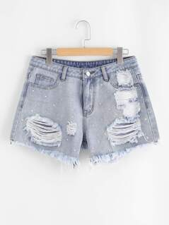Light Wash Studded Destroyed Denim Shorts