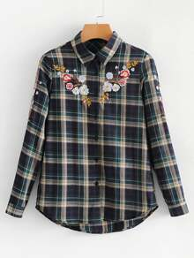 Flower Embroidery Curved Hem Plaid Blouse