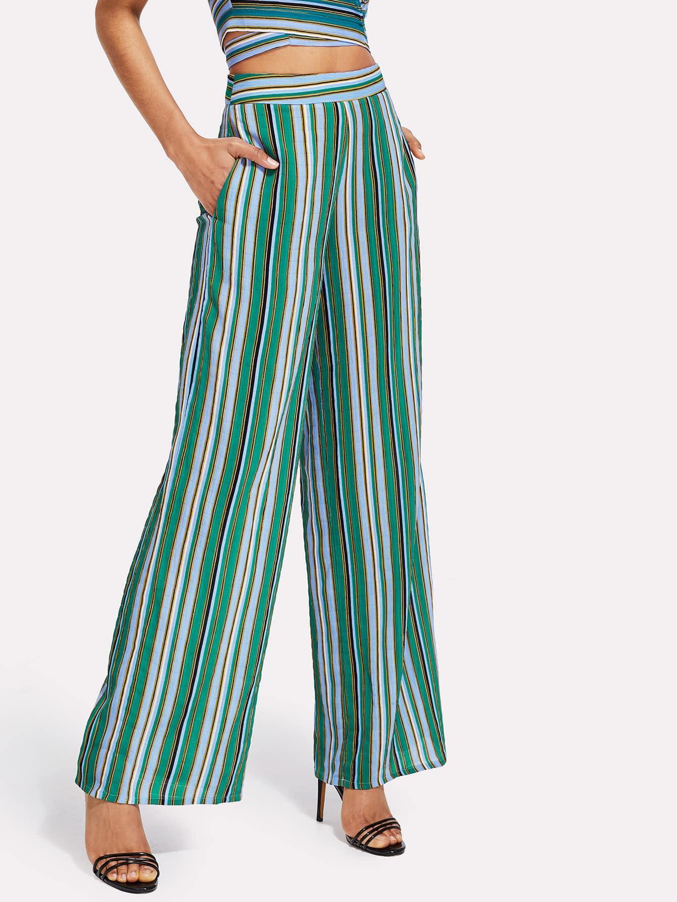 Купить Модные широкие брюки в полоску, Ana, SheIn