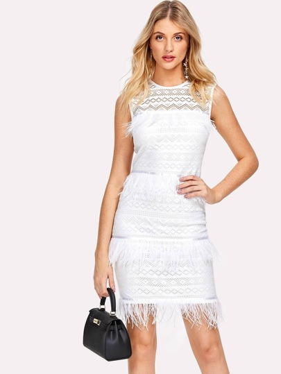 Faux Feather Trim Eyelet Mesh Dress