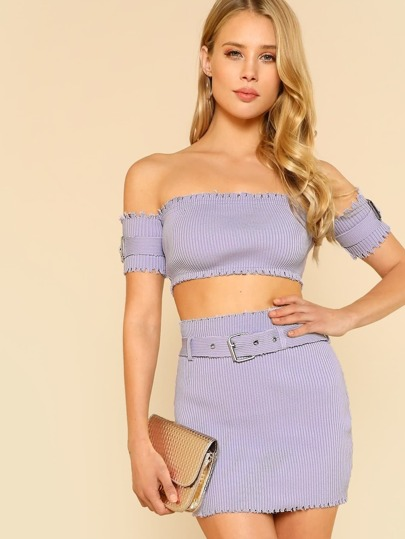 Distressed Denim Textured Bardot Crop Top & Skirt LAVENDER