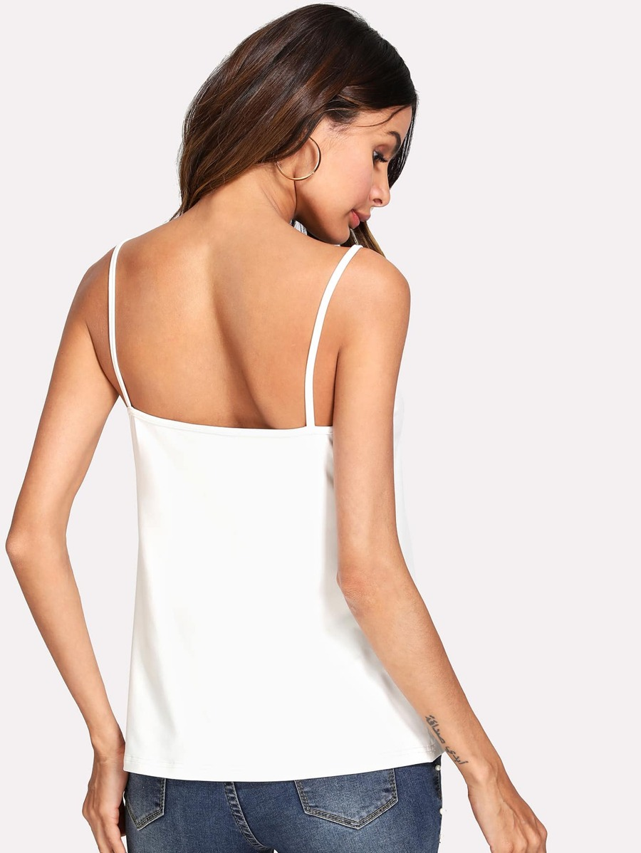 Lace Insert Strap Back Cami Top by Shein