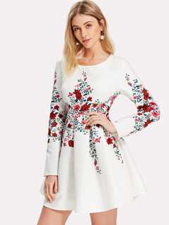 Box Pleated Botanical Jacquard Dress