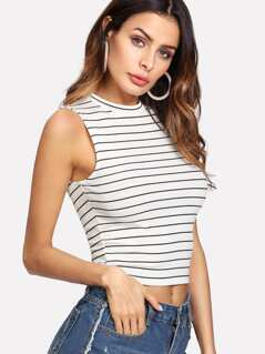 Striped Crop Shell Top