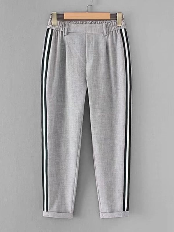 Striped Tape Tapered Pants striped tape side cuffed pants