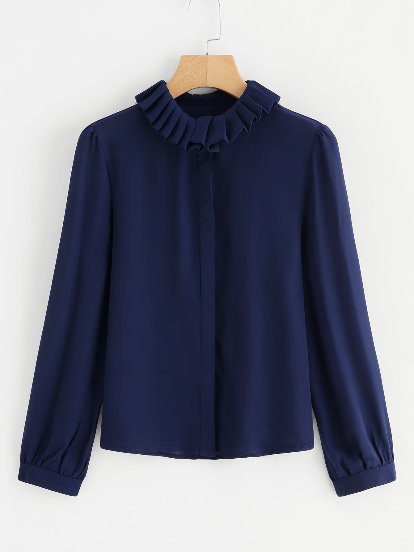 Pleated Collar Blouse pleated button collar blouse
