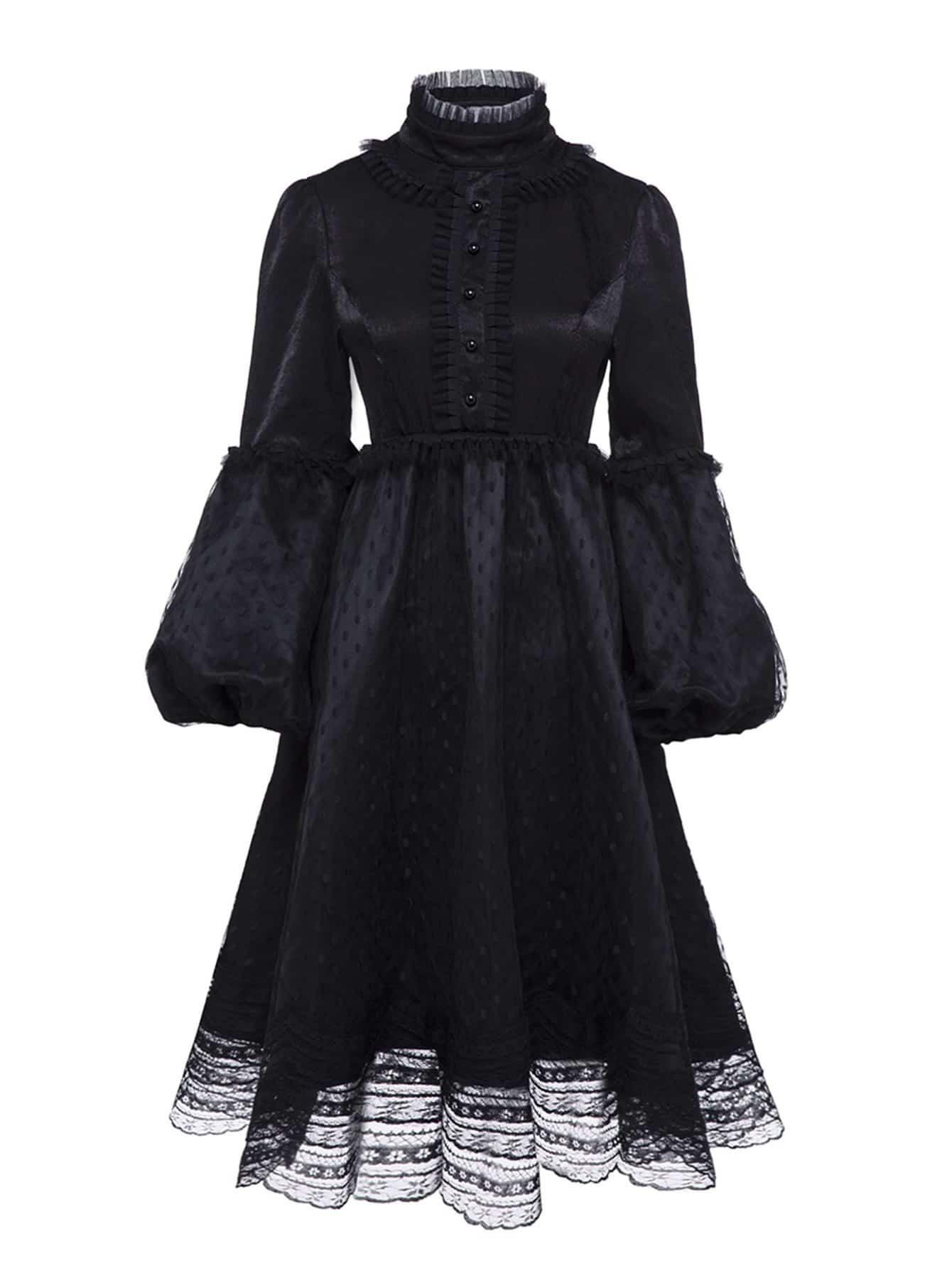 Mesh Contrast Button Front Lace Dress mesh contrast lace top