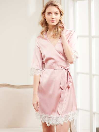 Eyelash Lace Trim Surplice Wrap Nightdress