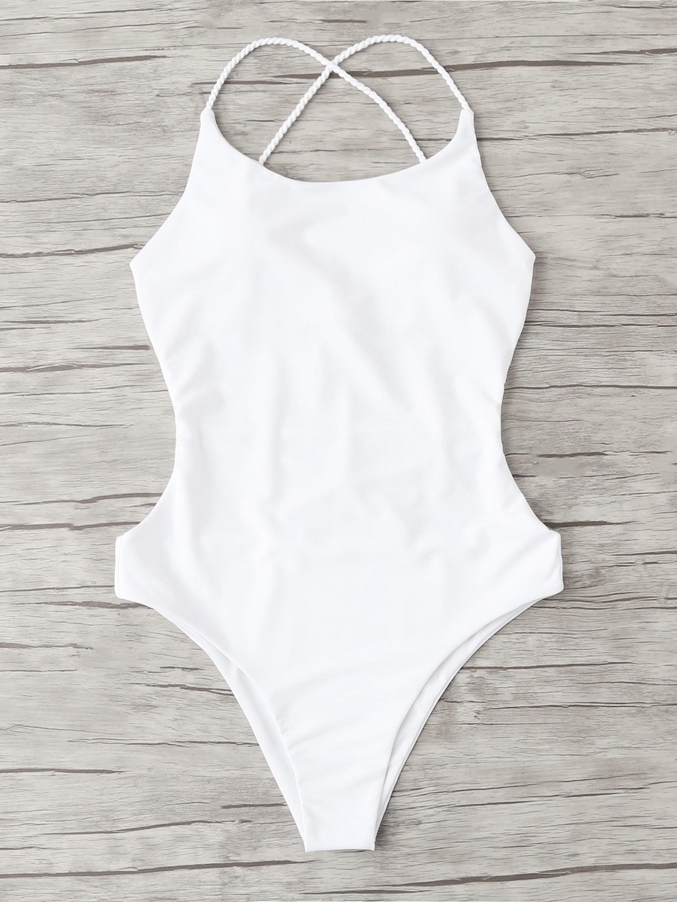 Open Back Criss Cross Swimsuit criss cross open back ruffle dress