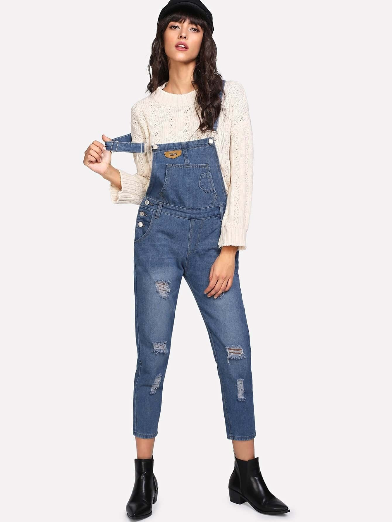 Image of Bleach Wash Ripped Denim Overalls
