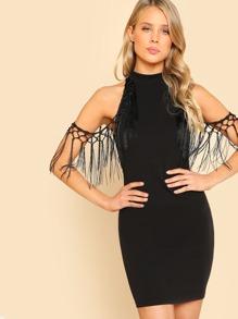 Tassel Embellished Open Shoulder Dress